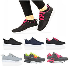 Womens ladies lace up fitness gym go running walk lightweight mesh trainers size
