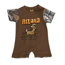 """Buck Wear 3565 Infant Boys Brown and Realtree Camo """"Reload,Fire!"""" One-Piece"""