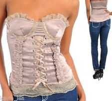 Taupe Lace-Up Front/Smocked Back Corset Tube Top w/Removable Straps S/M/L
