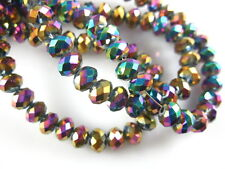 Colorized Plated 3x2mm Faceted Glass Loose Beads Rondelle Jewelry Findings HOT