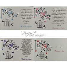 50 Wedding Cash Money Gift Personalised Poem Cards Bird Cage Solid Heart Design