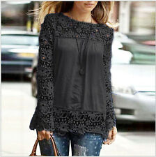 1PC Women Casual Chiffon Breathable Hollow Lace Embroidery Long Sleeve Blouse