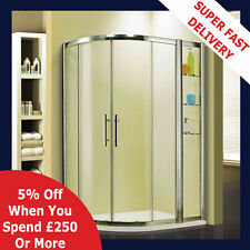 New Walk In Offset Quadrant Shower Enclosure Cubicle Glass Door and Stone Tray