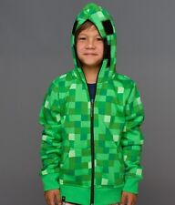 Minecraft Creeper Costume Gamer Licensed Premium Zip-up Youth Kids Hoodie S-XL