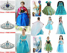 New FROZEN Princess Anna Elsa Queen Girl Cosplay Costume Party Formal Dresses