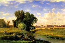 HACKENSACK MEADOWS SUNSET AMERICAN LANDSCAPE PAINTING BY GEORGE INNESS REPRO