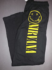 NIRVANA Smiley Face Logo sweatpants sweat lounge pajama pants *NEW