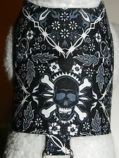 DOG CAT FERRET~Black BAD TO BONE Skull & Flames Biker Rock N Roll Custom Harness