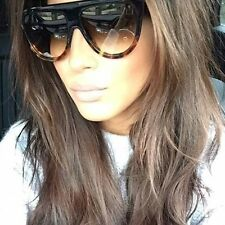 Retro Vintage  Shadow Designer Flat Top Aviator Oversized Women Sunglasses