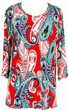 Tunic Top Ruffled Hemline 3/4 Sleeve Coral Turquoise Paisley Printed  S M L XL