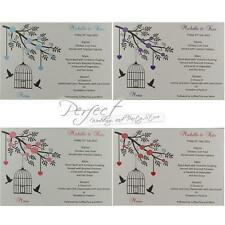 Personalised White Wedding Menu Insert Cards Bird Cage And Solid Heart Design