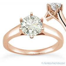 Round Brilliant Cut Moissanite 14k Rose Gold Trellis Solitaire Engagement Ring