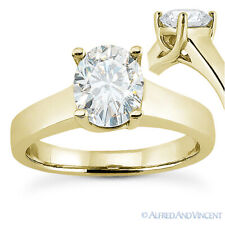 Oval Cut Moissanite 4-Prong Trellis Solitaire Engagement Ring in 14k Yellow Gold