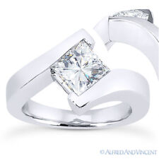 Square Cut Moissanite Solitaire Bypass-Setting Engagement Ring in 14k White Gold