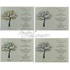 Personalised White Wedding Menu Cards Tree And Love Bird Design In 15 Colours