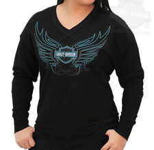 Harley-Davidson Womens Tribal Wings Black Long Sleeve Heavyweight Terry T-Shirt