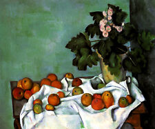 STILL LIFE WITH APPLES AND A POT OF PRIMROSES FRENCH PAINTING BY CEZANNE REPRO