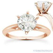 Round Brilliant Cut Moissanite 14k Rose Gold 6-Prong Solitaire Engagement Ring