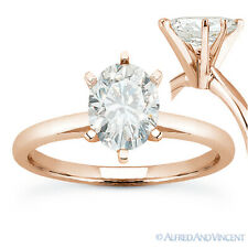 Oval Brilliant Cut Moissanite 6-Prong Solitaire Engagement Ring in 14k Rose Gold