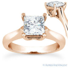 Square Brilliant Cut Moissanite 14k Rose Gold 4-Prong Solitaire Engagement Ring
