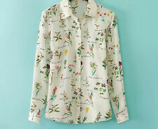 Women's Fashion Flowers Plants Print Tops Loose Chiffon Shirt T-shirt
