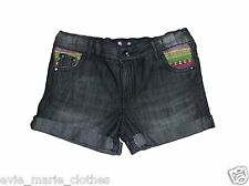 NEW GIRLS  BLACK DENIM TURN UP SHORTS 7-8-9-10-11-12-13 YEARS EX STORE