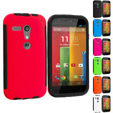 For Motorola Moto G Hybrid Shockproof Case Cover w/ Built In Screen Protector