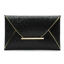 Womens Envelope Evening bag Sequins Clutch Handbag Evening Party Cocktail Bag