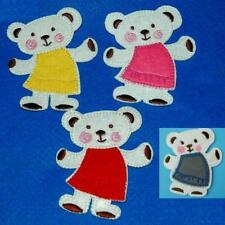 Teddy Bear Girl Patch Iron on Sew Applique Embroidery Baby Cute Cuddly Stick