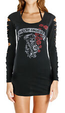 Sons of Anarchy Reaper Roses LIC NWT Womens Long Sleeve Laser-Cut Shirt