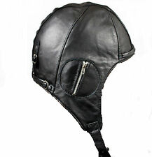 Aviator BLACK Leather Motorcycle Cap Replica Vintage WWII Pilot Hat
