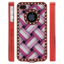 Apple iPhone 4 4S Gem Crystal Rhinestone Pink Basket Weave case