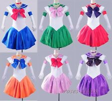 Sailor Moon Blue Costume Cosplay Uniform Fancy Club Outfit Dress & Glove RD 3261