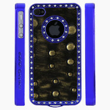 Apple iPhone 4 4S Gem Crystal Rhinestone Black Gold Raised Dots Leather case