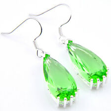 Romantic Precious Gift Rainbow Mystic Topaz Gemstone Silver Earrings 1 3/8""