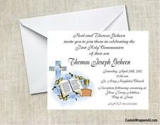First Communion Blue Bible Cross Roses Party Invitations Custom Personalized