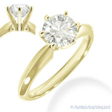 Forever Brilliant Round Cut Moissanite 14k Yellow Gold Solitaire Engagement Ring