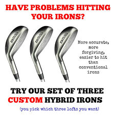 SET OF THREE - CUSTOM MADE Hybrid Rescue Irons RH Golf Clubs TAYLOR FIT GRAPHITE