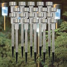 STAINLESS STEEL SOLAR LED POWERED GARDEN LIGHTS OUTDOOR RECHARGEABLE LAMPS