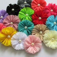 8PCS Large Fabric Ribbon Bows Flowers w/Bead Appliques Wedding Craft 77mm A0415