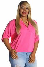 121AVENUE Classy Collared Hi-Low Top 1X 2X 3X Women Plus Size Pink Casual