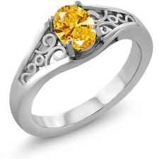 0.76 Ct Golden Yellow 925 Sterling Silver Ring Made With Swarovski Zirconia