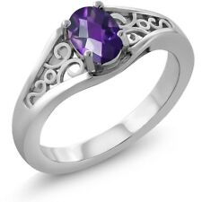 0.75 Ct Oval Checkerboard Purple Amethyst 14K White Gold Ring