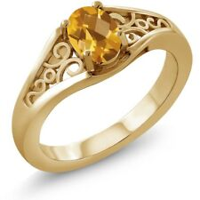 0.70 Ct Oval Checkerboard Yellow Citrine 14K Yellow Gold Ring