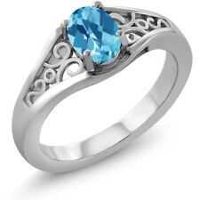 0.95 Ct Oval Checkerboard Swiss Blue Topaz 18K White Gold Ring