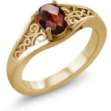 0.80 Ct Oval Checkerboard Red Garnet 925 Yellow Gold Plated Silver Ring