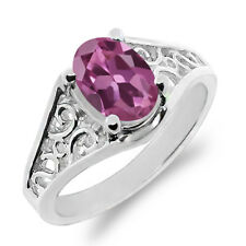 0.85 Ct Oval Pink Tourmaline 14K White Gold Ring