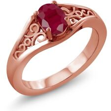 1.02 Ct Oval Red Ruby 925 Rose Gold Plated Silver Ring