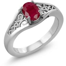 1.02 Ct Oval Red Ruby 14K White Gold Ring