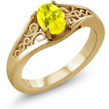 0.95 Ct Oval Canary Mystic Topaz 925 Yellow Gold Plated Silver Ring